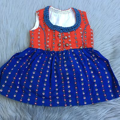 Vintage Red Blue Floral Austrian German Dirndl Traditional Dress Baby Girls