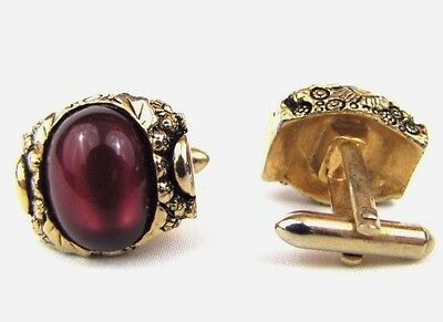 Vintage Mid-Century Floral Gold/Oxblood Maroon Oval Glass Swirl Metal Cuff Links