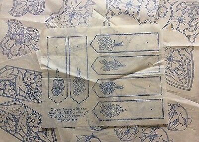Vtg 30s 40s Needlework Embroidery Transfers x5 Floral Flowers Book Marks Etc (1)