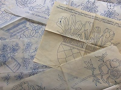 Vtg  1930s 40s Needlework Embroidery Transfers x5 Floral Flowers Vase  Etc (3)