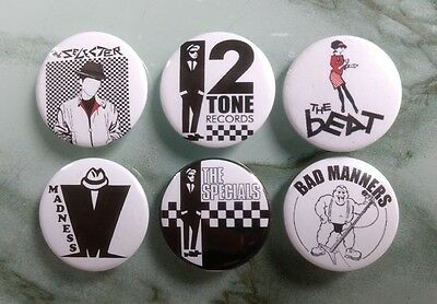 2 Tone 25mm badges set of 6 Specials Madness the Beat selected bad manners