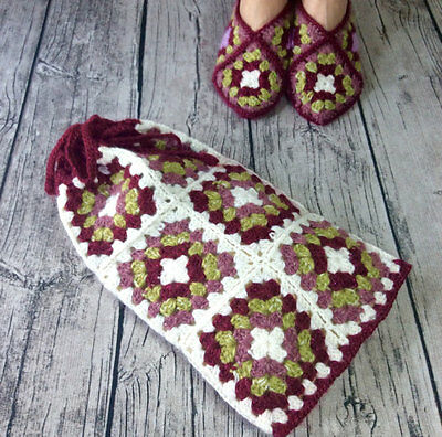 Hot Water Bottle Cover / Cozy Hand Crochet in Granny Squares Hand crocheted