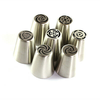7PCS Russian Tulip Flower Icing Piping Nozzles Cake Decorating Tips Pastry Tool
