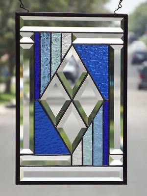 "• Center  •Beveled Stained Glass Window Panel 15 ½"" x10 ½""(39x27cm)"