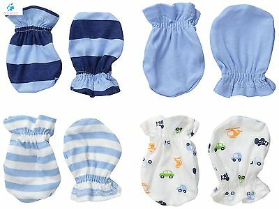 6 Pairs Mix Colors Scratch Mittens Gloves Cotton Baby Newborn Infants Mittens