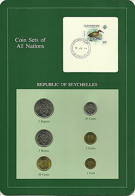 SEYCHELLES - Coin Sets of All Nations - 6 Coins + STAMP with POSTMARK, LOOK!