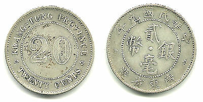 CHINA - Republic (1911-1949) kWANGTUNG Province 20 CENTS SILVER, 1920 - Y423