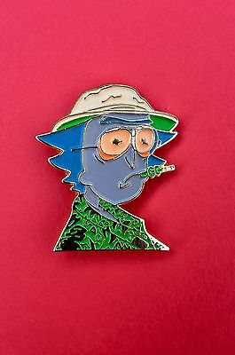 Hunter S Thompson Rick and Morty Portrait Pin Green Shirt Edition
