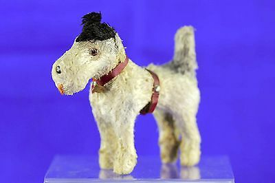 Vintage Stick Leg Terrier Dog Glass Eyes Original Red Collar