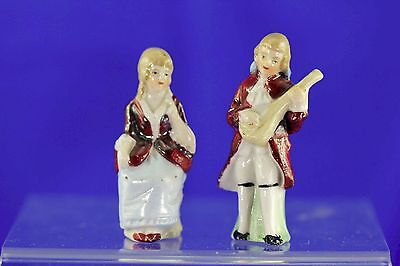 Vintage Victorian German Porcelain Seated Lady Man With Mandolin Figurines