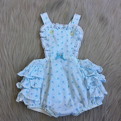 Vintage Toddler Girls Blue White Floral Ruffle Lace Sunsuit Romper 24m