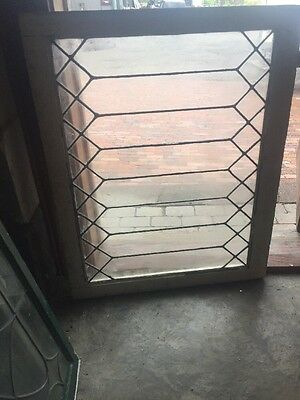 Sg 1491 Antique Leaded Glass Geometric Transom Window 29 X 30.5