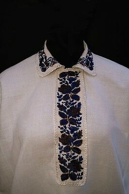 Antique Ukrainian Embroidery mens linen Shirt from Bukovina, Kicman' area