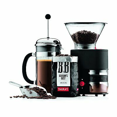 Bistro Electric Burr Coffee Grinder, Black with 14 Grind Settings by Bodum NEW
