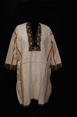 Antique Ukrainian Embroidery mens Borschiv linen Shirt with beads, Ternopil area