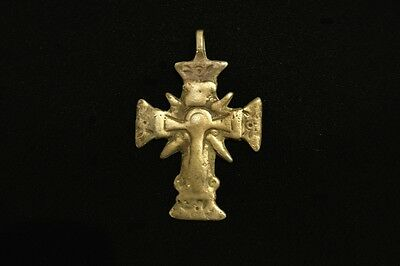 Antique Ukrainian Hutsul Zgarda Bronze Pectoral Cross early 19th century