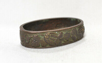 Antique Japanese Tsuka Part Only Old Single Fuchi Bronze Gourds Leaves No Sword