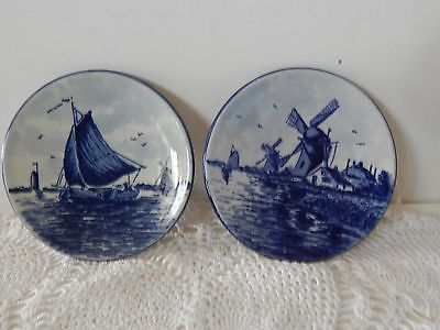 2 Vintage Holland Delft Blauw Handpainted Wall Plate Windmill Sailboat Ship