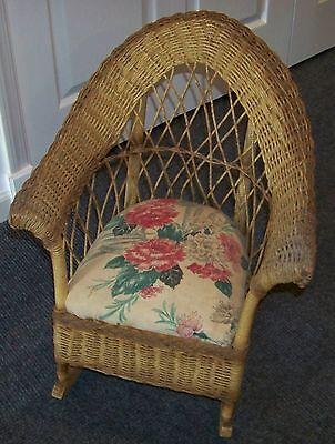 Old Childs Wicker Rocking Chair with Padded Seat