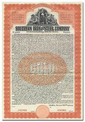 Southern Iron and Steel Company Specimen Bond Certificate