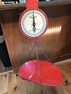 Vintage Red Farm Produce Hanging 60 Lb. American Family Scale Co.