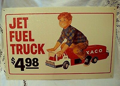 """Reproduction 1998 TEXACO Licensed Sign ~ JET FUEL TRUCK $4.98 ~ 15"""" x 10"""""""