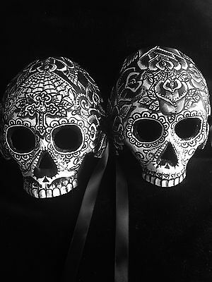 Sugar Skull Half Mask Pair Day Of The Dead Dia De Los Muertos Candy Black & Grey