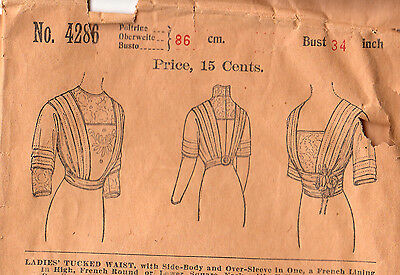 1899 Woman's Beautiful Tucked Blouse Antique Pattern