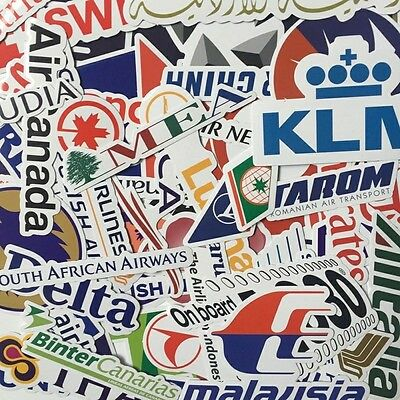 Lot of 50 Airline Travel Logo Decal Stickers - Luggage Scrapbook Phone World NEW