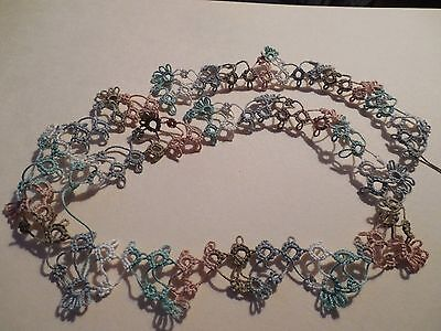 """Tatted  Lace Trim 14"""" Sage Tan Colors Crazy Quilts Shuttle Tatting Dove Country"""