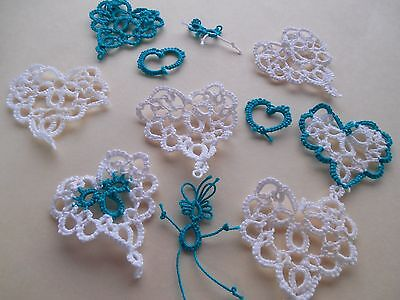 6 Tatted Peacock Teal and White Hearts Tatting by Dove Country