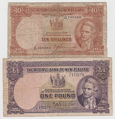Lots of 2 New Zealand 10 Shillings, 1 Pound banknotes, 1940-1955, circulated