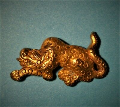 ANTIQUE ASIAN BRONZE or COPPER TIGER PIN - AMULET with GOLD WASH