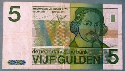 Netherlands 5 Gulden Note , P 95 , Issued 28.03.1973