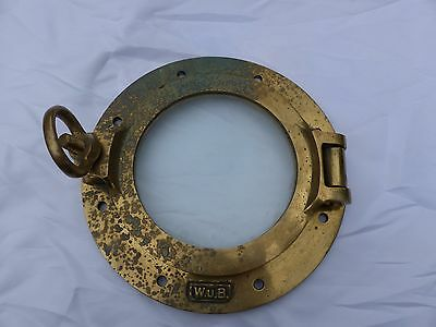 "Vintage Brass + Glass Viewing Window Ship Porthole About 10"" W.U.B."