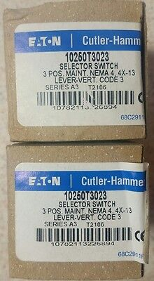 Eaton Cutler Hammer 10250T3023 3 Position Selector Switch Lot of 2 New