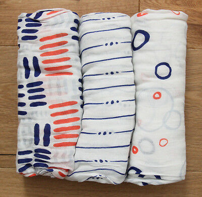 "Aden Anais Bamboo Swaddle Blanket ~ White, Blue & Orange ~ Pick 1 ~ 47"" x 47"""
