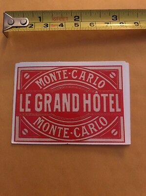 Vintage Style LE GRAND HOTEL MONTE CARLO Luggage Label Sticker/decal
