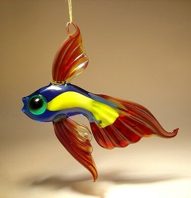 Blown Glass Figurine Dark Red, Yellow & Blue Hanging Telescope FISH Ornament