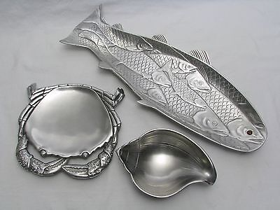 Vtg. Arthur Court Fish Trout Salmon Tray, Crab Plate, Shell Dish, 1986 1983 1988