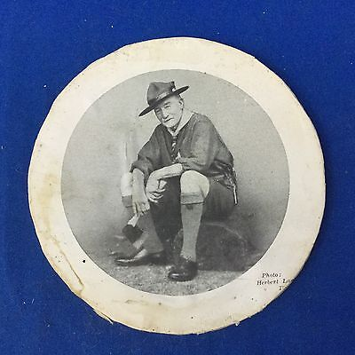 Boy Scout Baden-Powell Round Print On Wood