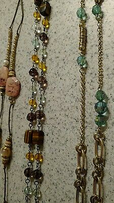 vintage long beads chain necklaces lot
