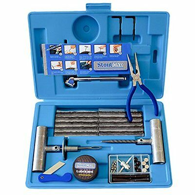 67 Piece Heavy Duty Flat Tire Repair Kit with Auto Changing & Insertion Tools...