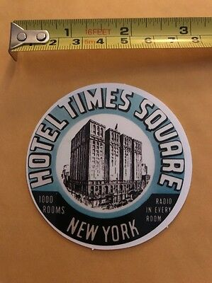 Vintage Style HOTEL TIMES SQUARE NEW YORK Luggage Label Sticker/decal