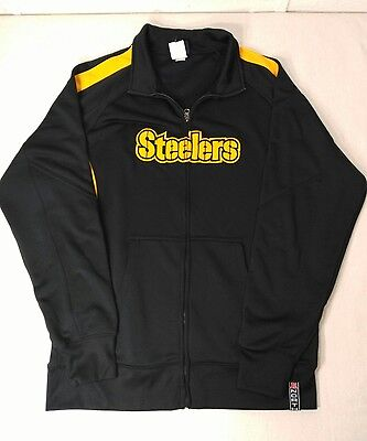 NFL Team Apparel Mens Size Large L Pittsburgh Steelers Black Zip Up Jacket