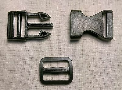 5 x 20mm Plastic Side Release Buckles + try glide bar slide  **FREE POST**