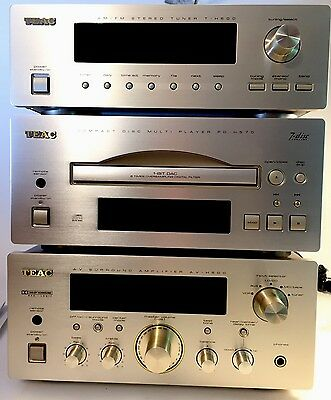 TEAC PD-H570 CD PLAYER & T-H500 STEREO TUNER & A-H500 AMPLIFIER Retro! Lot! Gold