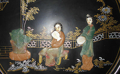Antique-vtg Japanese art-Jade of many colors-wall hanging-black lacquer-Geisha