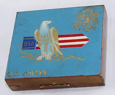 Vintage WWII era-U.S. Army Sweetheart Compact-Eagle & Flag & USA