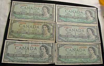 Lot of 6x 1954 Canada $1 Notes